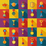 Set of flat awards icons royalty free illustration