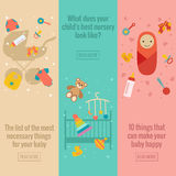 Set of flat baby care banners Stock Image