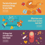 Set of flat baby care banners Stock Photos