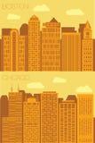 Set 2 flat background city  Boston and Chicago Stock Photo
