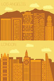 Set 2 flat background city London and Los Angeles Stock Photo