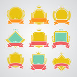 Set of flat badges and ribbons.  stock illustration