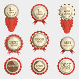 Set of flat badges with text and ribbons. badge collection. Set of flat badges with text. vector badges with ribbons. collection of round medals or seals with Stock Images