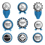 Set of flat badges with text. Vector badges with ribbons. collection of round medals or seals with inscription like best choice, good price, first place etc Royalty Free Stock Photo