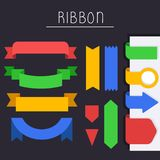 Set Of flat Banner Ribbon templates Set Vector Icon. Flat Banner Ribbon With colorful Style gonna make your communication direction more useful and easier Stock Image