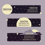 Set of flat banners with night sky, moon, stars Stock Photography
