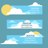 Set of flat banners with  sky, sun, clouds Stock Image