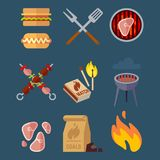 Set of flat barbeque icons for web. Camping vector illustration isolated on blue background. Bbq meat cooking, healthy beef grilled stock illustration