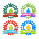 Set of Flat Best Choice Labels with ribbon. Vector Stock Image
