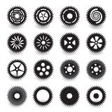 Set of flat black gear icon for info graphic design Stock Image