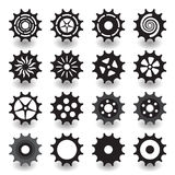 Set of flat black gear icon for info graphic design. Set of flat black gear icon for info graphic, business, design, contains with 16 items vector illustration