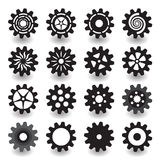 Set of flat black gear icon for info graphic design. Set of flat black gear icon for info graphic, business, design, contains with 16 items royalty free illustration