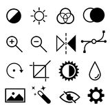 Set of flat black and white editing icons. Contrast, brightness, hue, color, filter, curve, levels symbols. Stock Image