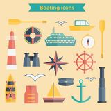 Set of flat boating icons Stock Image