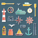 Set of  flat boating stickers Stock Photo