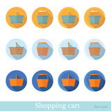 Set of flat business circle icon with long shadow effect shopping basket Stock Image