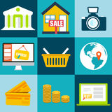 Set flat business commerce icons design. Vector Stock Photography