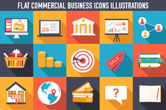 Set flat business commerce icons design vector Royalty Free Stock Photography