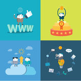 Set of flat  business concept design Royalty Free Stock Photos