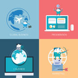 Set of flat  business concept design Royalty Free Stock Images