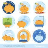 Set flat business concept icon with piggy bank circle financial terms Stock Image