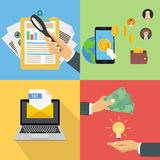 Set of flat business and finance concepts Royalty Free Stock Images