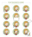 Set of flat business icons with businesswomen Stock Photography