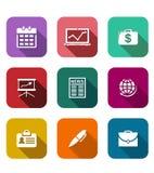 Set of flat business icons Stock Photos