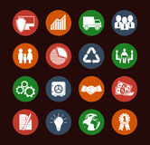 Set of 16 flat business icons. Including development & security, safety & investment, statistics & innovation, solutions, competence, logistics & recycling Royalty Free Stock Image