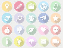 Set of flat business icons with long shadow. Royalty Free Stock Photo