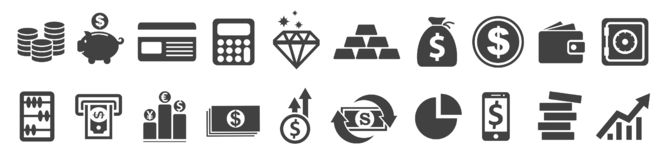 Set Flat Business Icons, money signs - vector vector illustration