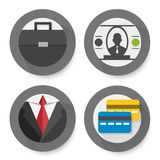 Set of flat business icons. Vector illustration Stock Photos