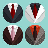 Set Flat Business jacket and tie. Stock Photos