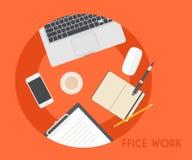 Set of Flat Business Office Vector Illustration Stock Photos