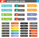 Set of Flat Buttons. Flat Web Design elements - set of 36 color buttons with icons for website or app Stock Photography