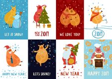 Piggies New Year Cards Stock Illustration