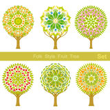 Set of flat cartoon folk style fruit trees Royalty Free Stock Image