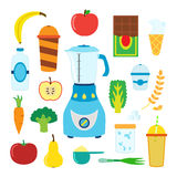 Set of flat cartoon food for smoothie with blender, mixer. Stock Image