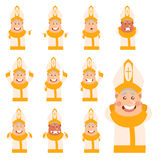 Set of flat cartoon Pope icons. Vector image of the set of flat cartoon Pope Stock Photography