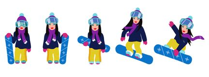 Set of flat cartoon snowboarders riding and jumping. royalty free stock photography