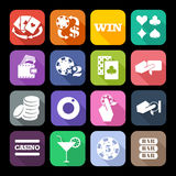 The set of flat casino icons with long shadow Stock Photography