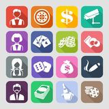 The set of flat casino icons Stock Images