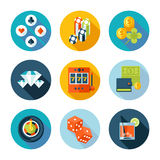 Set of flat casino icons. Royalty Free Stock Image