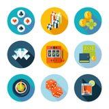 Set of flat casino icons. royalty free illustration