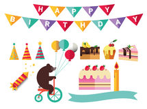 Set of flat catoon birthday party elements. Decoration Royalty Free Stock Images