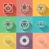 Set of flat chakras icons with shadow Royalty Free Stock Images