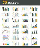 Set of 28 flat charts, diagrams for infographic. Vector