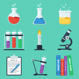Set of flat chemistry vector icons. Vector illustration in eps10 Stock Photos
