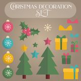 Set of flat christmas decoration elements. For creating banners, frames, invitations and greeting holiday cards Royalty Free Stock Photo