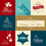 Set of flat Christmas and Happy New Year icons Royalty Free Stock Image
